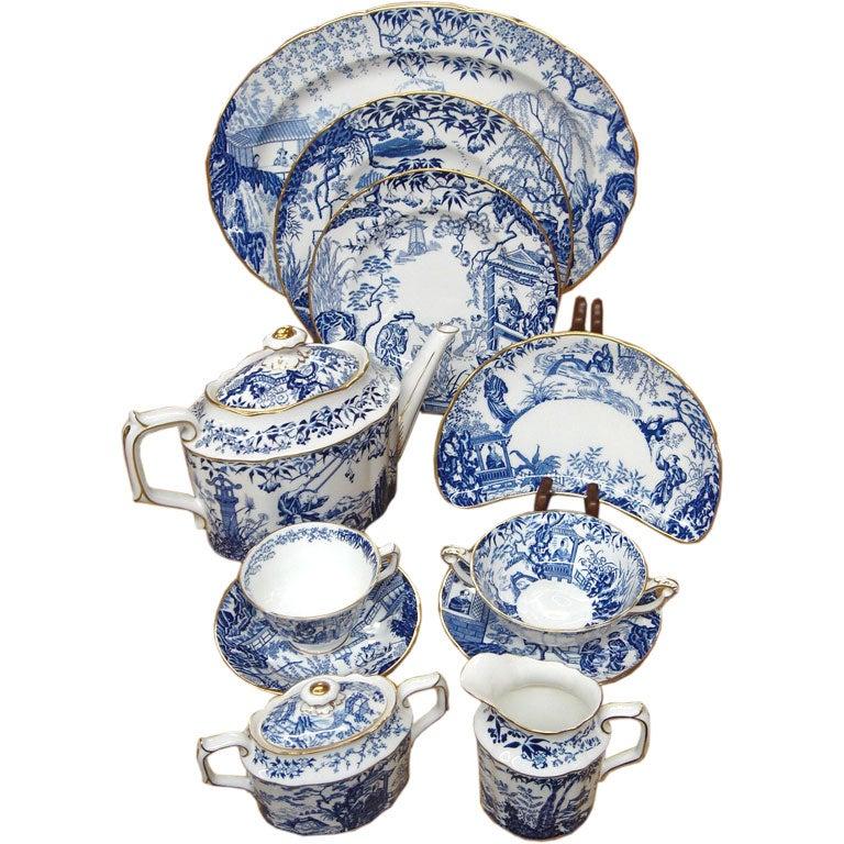 Set Of Royal Crown Derby Blue Mikado Bone China Dinnerware