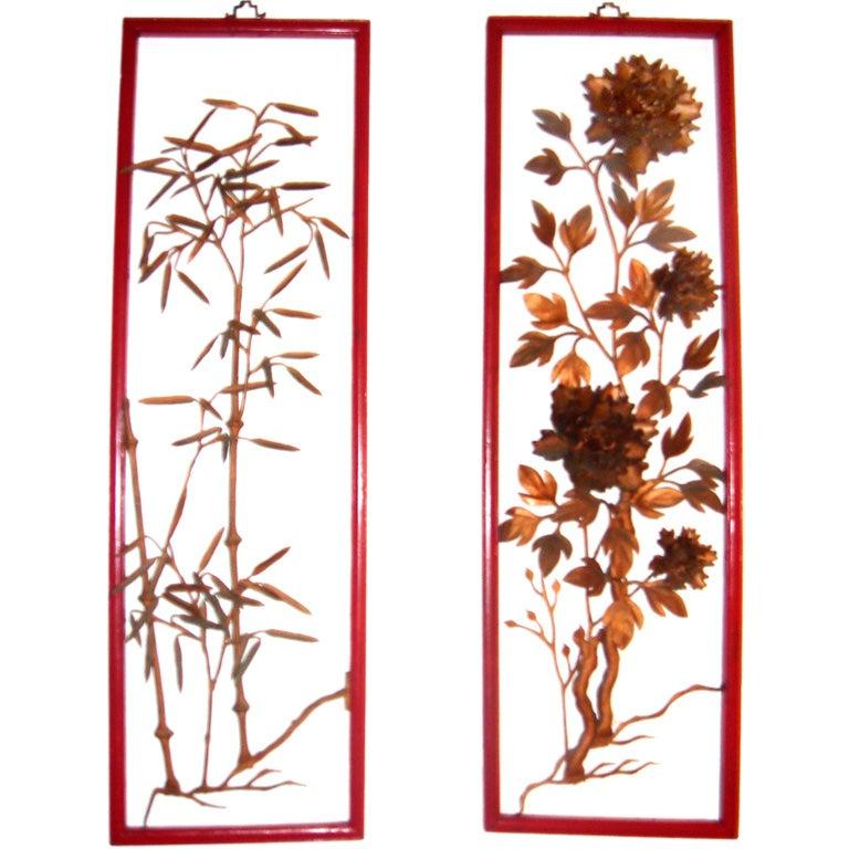 Set Of 4  Metal Flower Sculptures