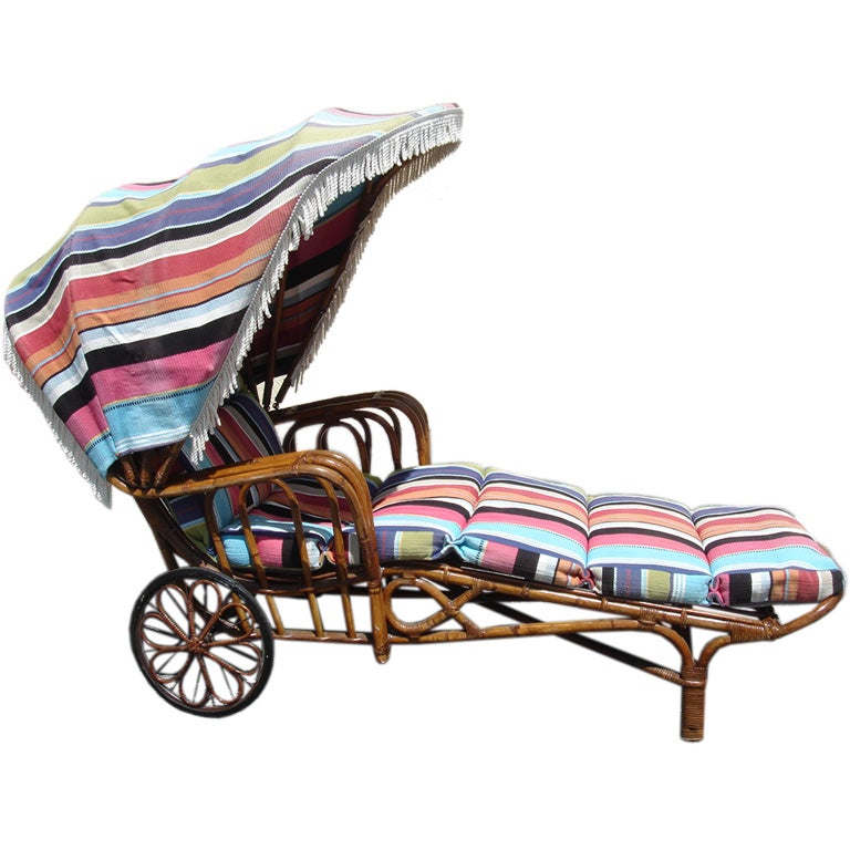 Hayward wakefield chaise lounge w canopy and wheels at for Canopy chaise lounge