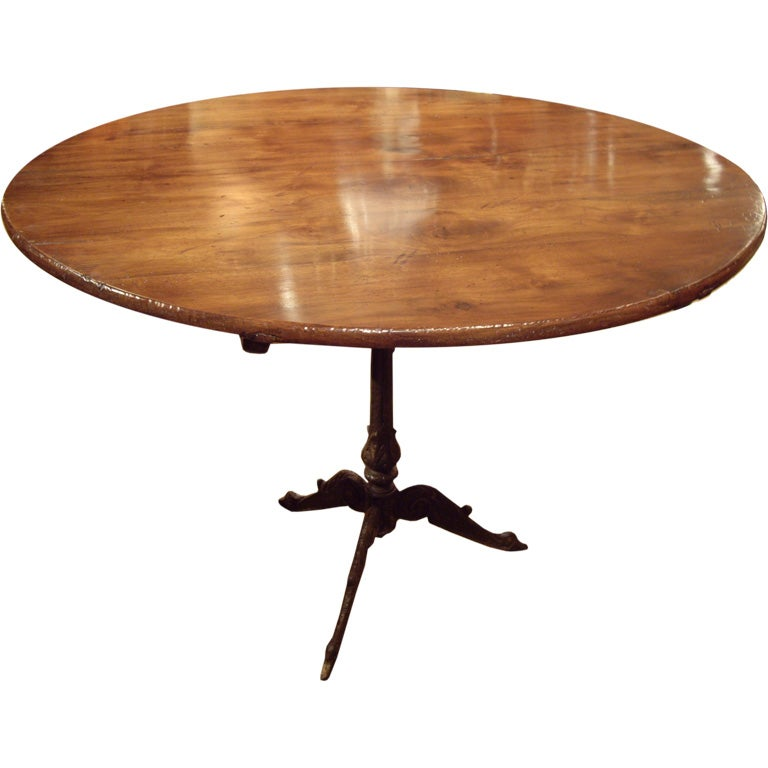 19th c iron base table w 19th c round wine table top at for Th 37px60b table top stand