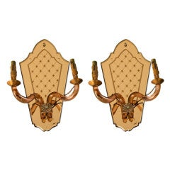 Pair Of French Deco Rose Mirrored Sconces