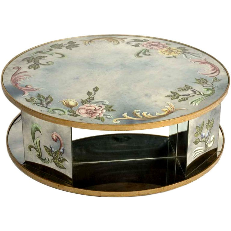 Italian Reverse Painted Mirrored Round Coffee Table On Swivel At 1stdibs