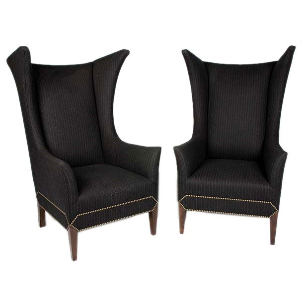 Wingback Chairs in grey flannel with nailheads at 1stdibs