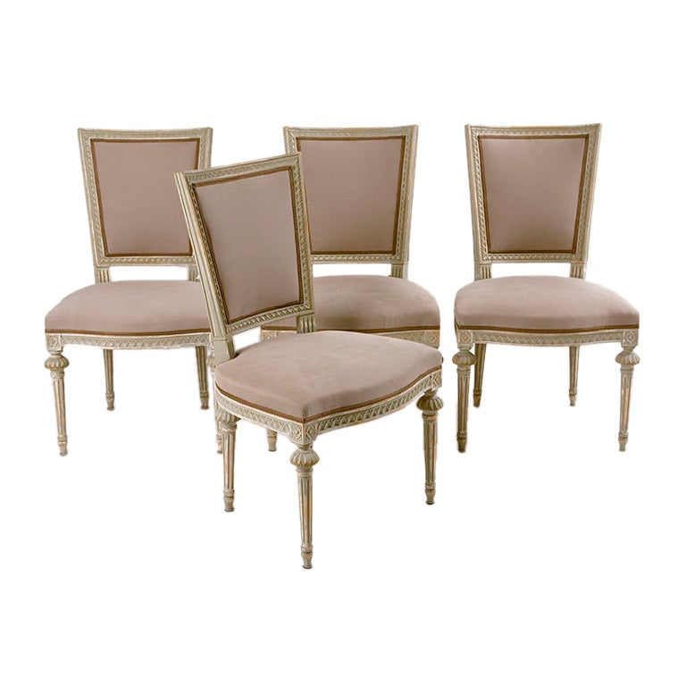 Set Of 4 Antique Swedish Dining Chairs Gustavian Style At