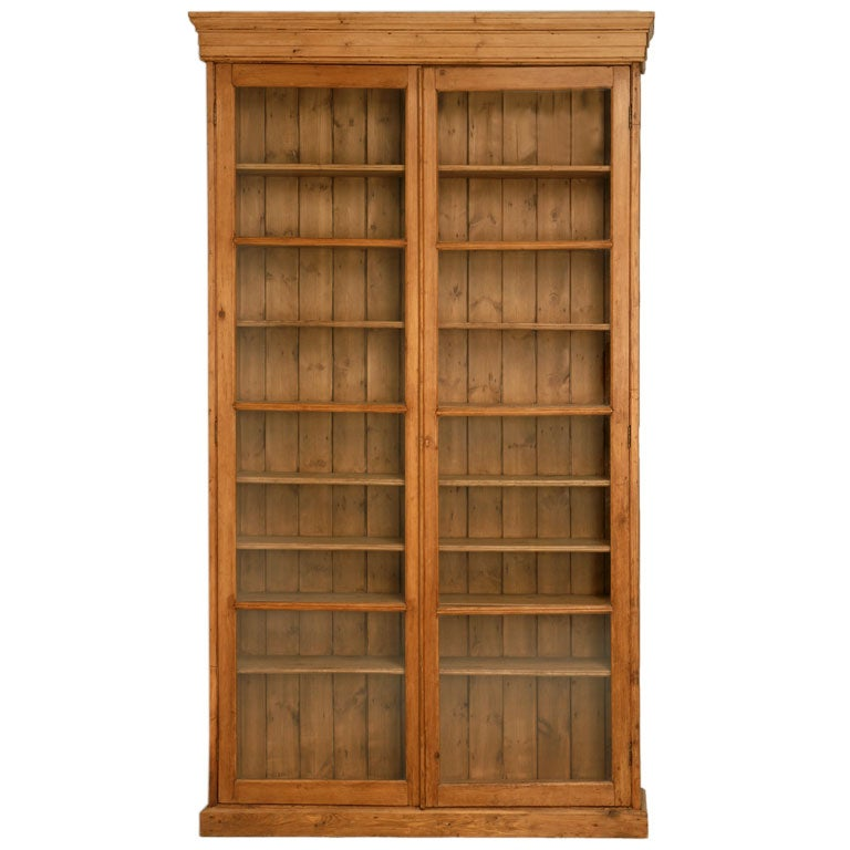 Grand scale glazed pine display cabinet at 1stdibs for 1880 kitchen cabinets