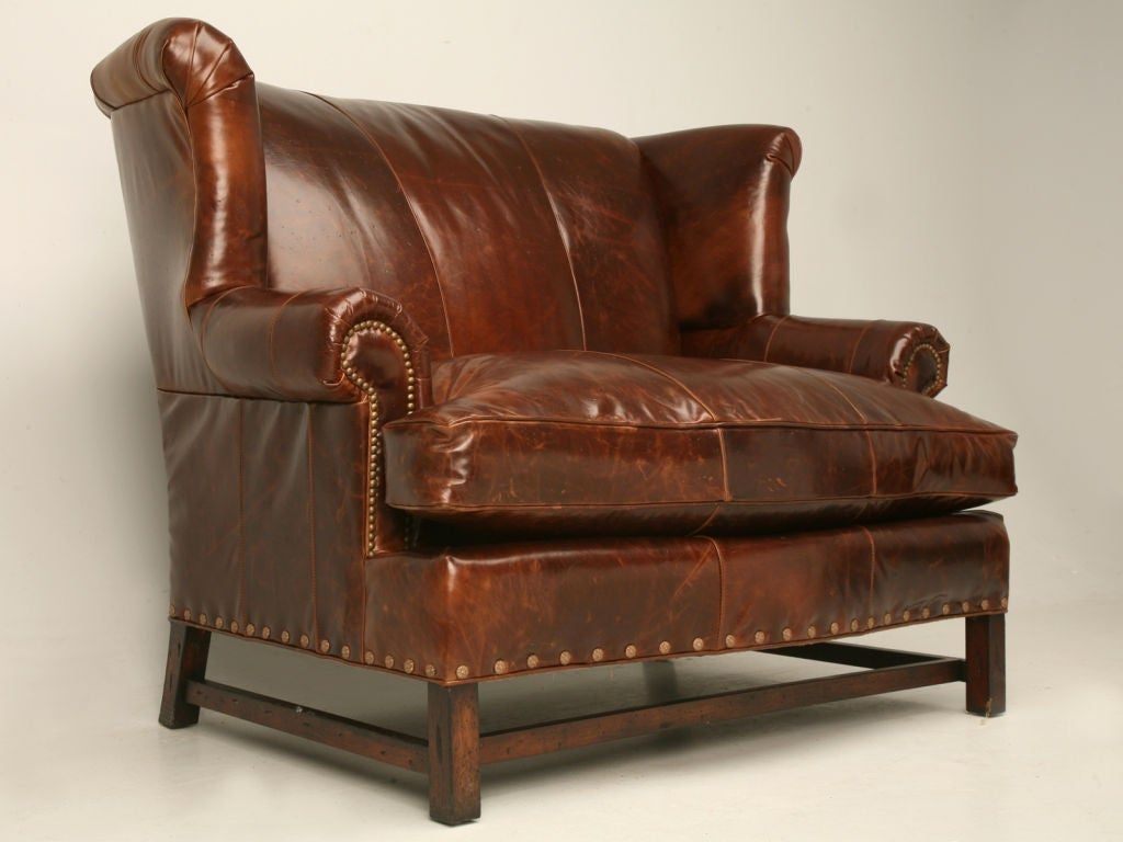 Distressed Leather Sette And Ottoman At 1stdibs