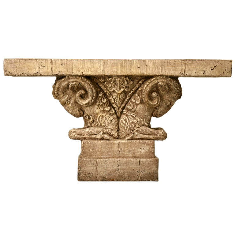 "Console Table in Faux Stone ""Rams Head""  1"