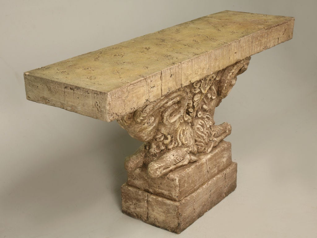 "Console Table in Faux Stone ""Rams Head""  2"