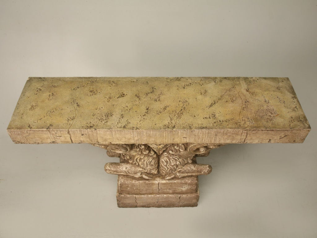 "Console Table in Faux Stone ""Rams Head""  3"