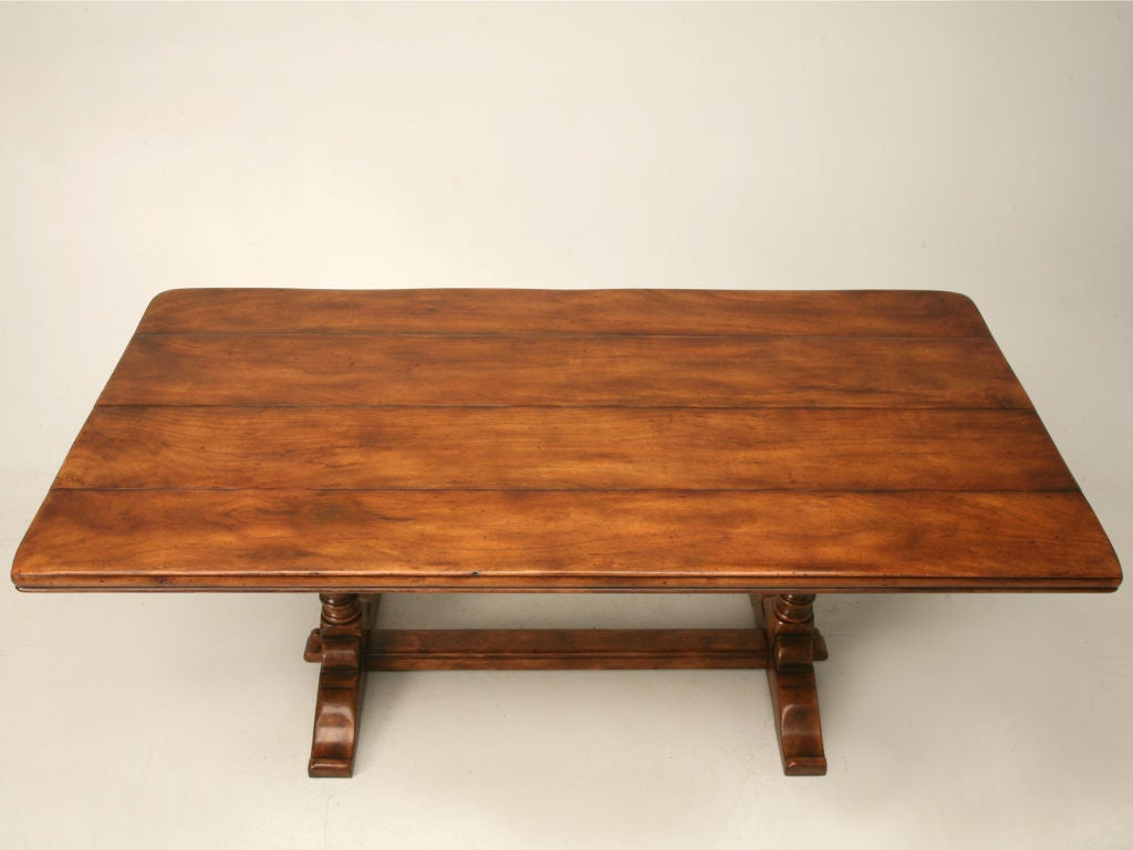 solid walnut trestle dining table w 2 thick top at 1stdibs. Black Bedroom Furniture Sets. Home Design Ideas