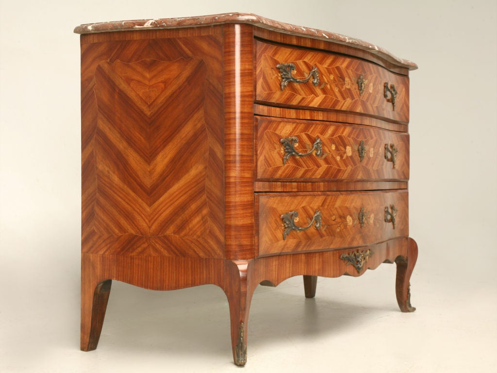 Exquisite Antique French Louis XV Marquetry Commode w/Marble 2