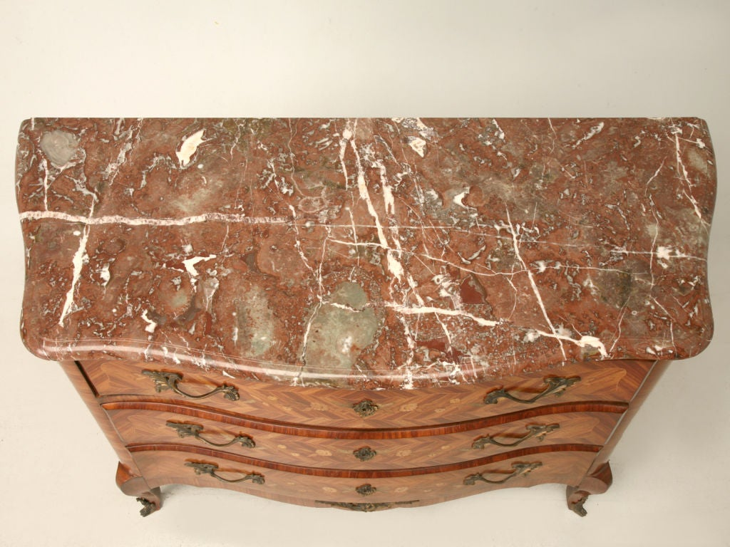 Exquisite Antique French Louis XV Marquetry Commode w/Marble 4