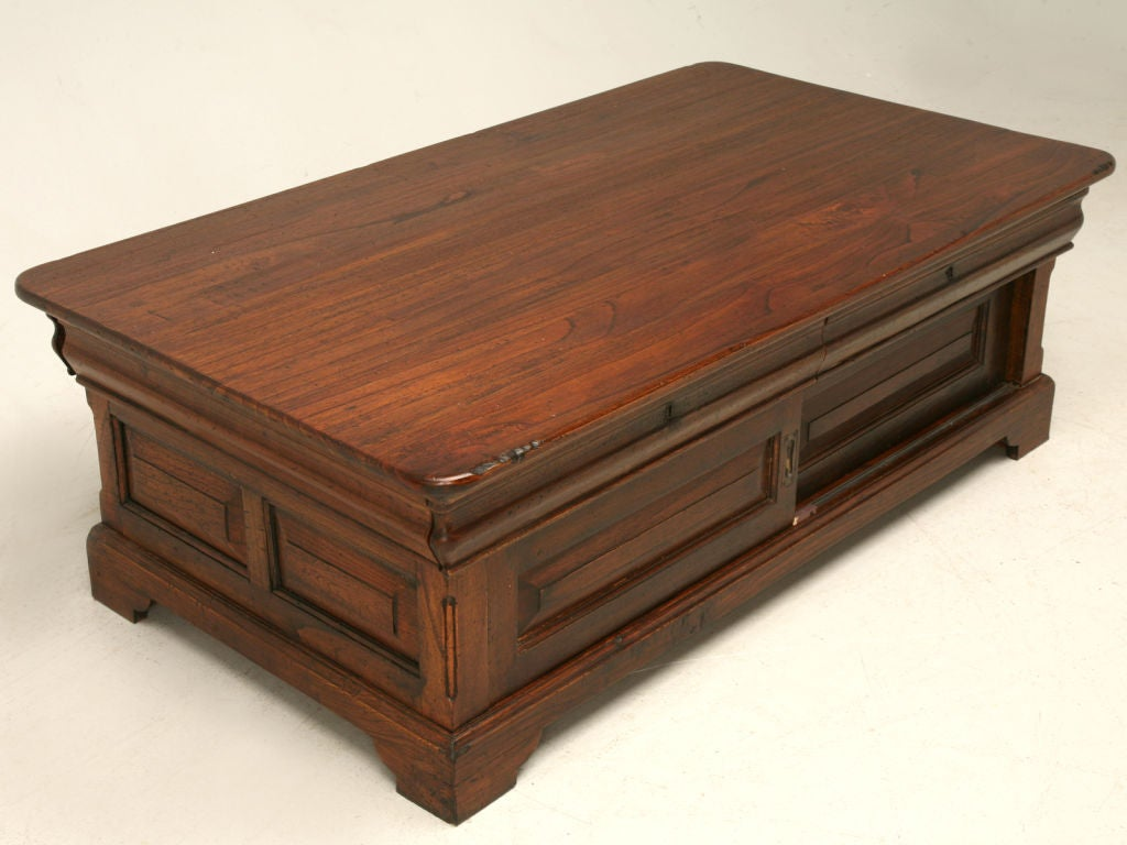 Louis philippe style reclaimed teak wood coffee table at for Table louis philippe