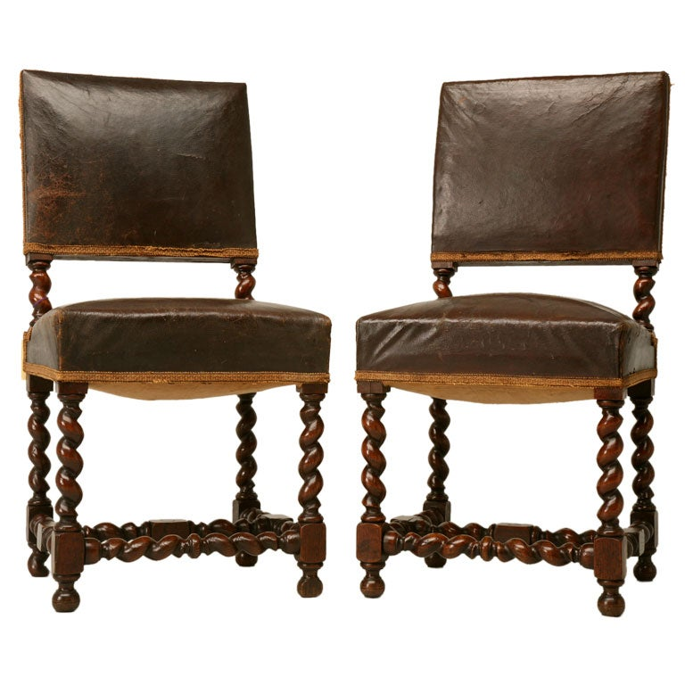 Pair Of French Barley Twist Side Chairs At 1stdibs
