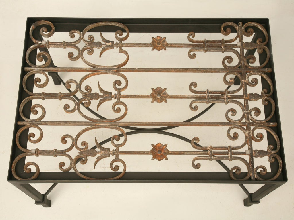 Architectural Antique French Wrought Iron Coffee Tea End