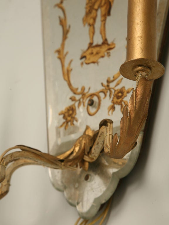 Magnificent Pair of Vintage Italian Eglomise 3 Light Wall Sconces For Sale at 1stdibs