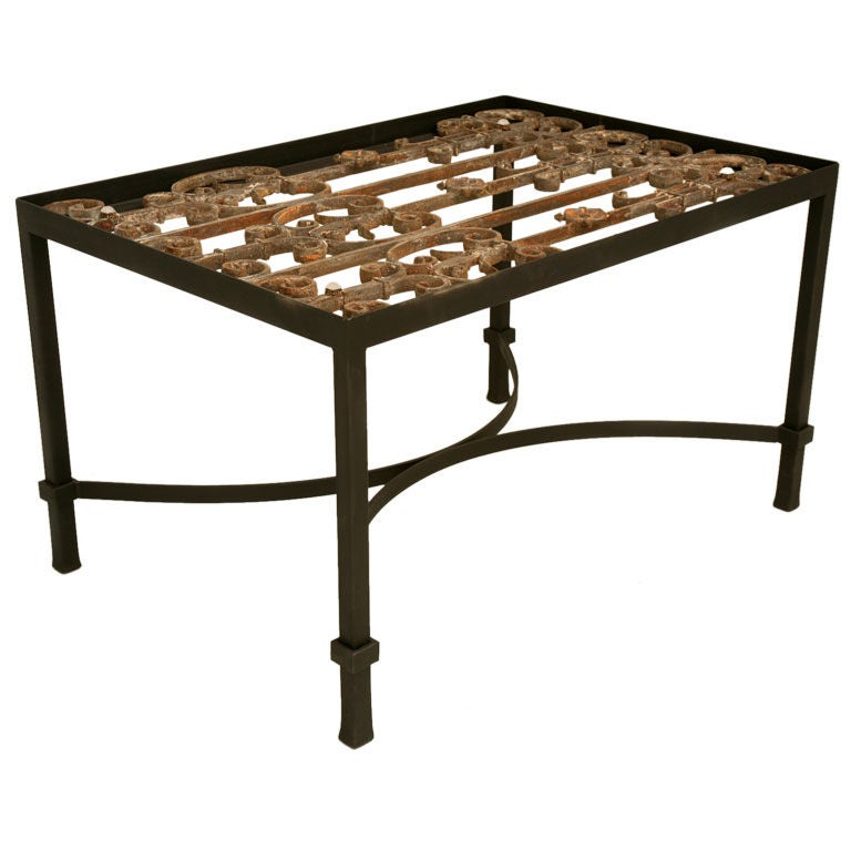 Architectural antique french wrought iron coffee tea end for Square wrought iron coffee table