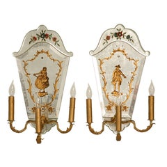 Magnificent Pair of Vintage Italian Eglomise 3 Light Wall Sconces