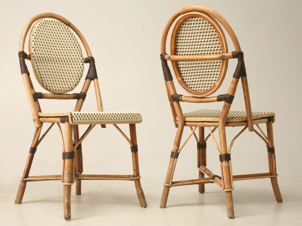 French Bistro Table Paired W Bamboo Chairs At 1stdibs