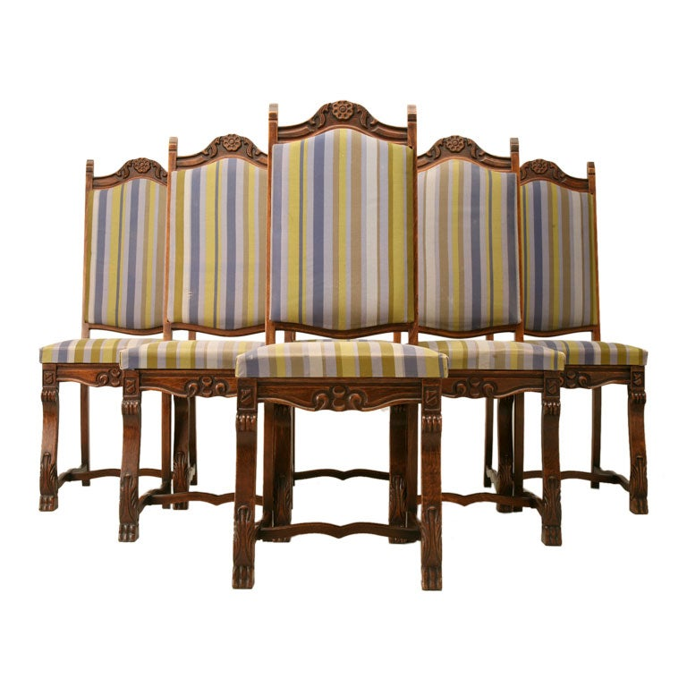 set of 6 spanish hand carved oak dining chairs at