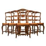c.1920 Set of 6 Louis XV Style Dining Chairs w/ Rush Seats