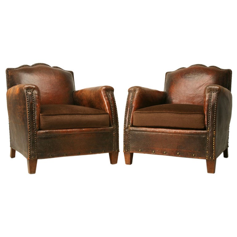 Pair Of French Leather And Mohair Club Chairs At 1stdibs