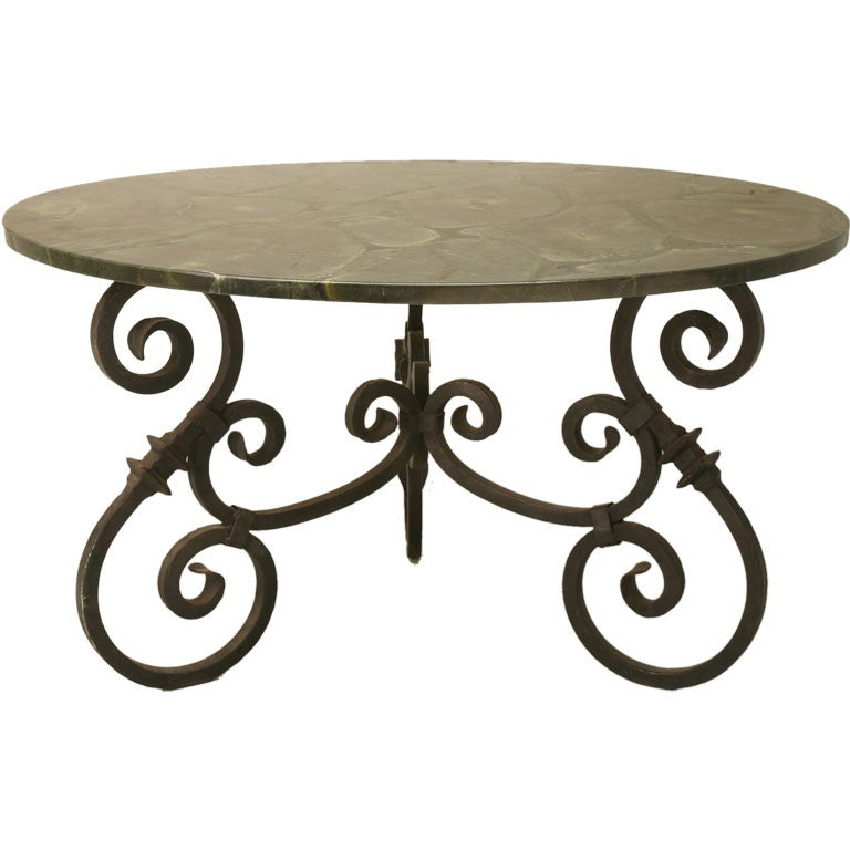 Hand wrought iron table w marble top at 1stdibs for Wrought iron table bases marble top