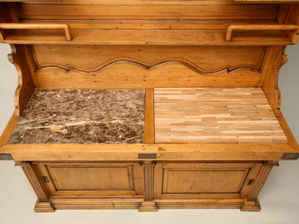 Country french style vaisselier w butcher block and marble at 1stdibs - Marble chopping block ...