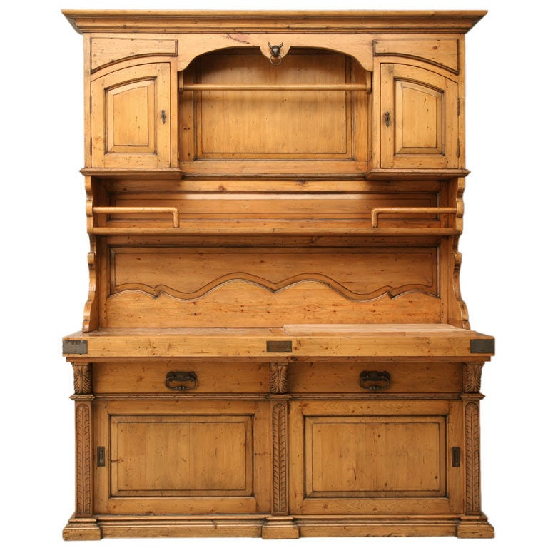 Country French Style Vaisselier W Butcher Block And Marble At 1stdibs