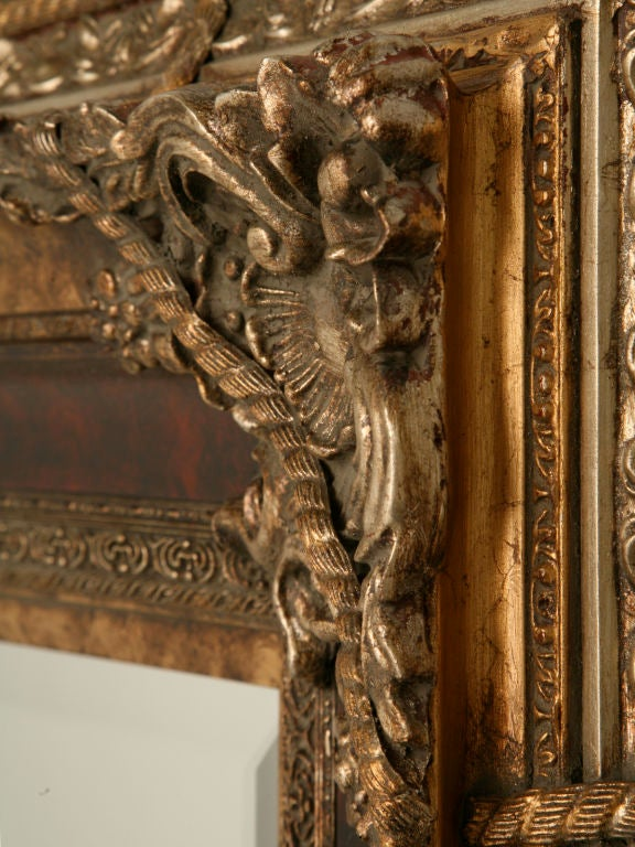 Large 69 x 56 italian baroque style wall mirror at 1stdibs for Floor mirror italian baroque rococo style