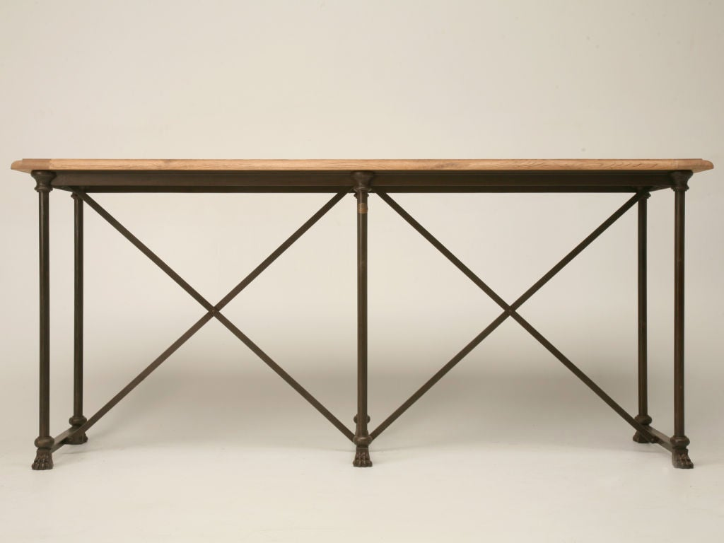 French Oak And Iron Console Sofa Table