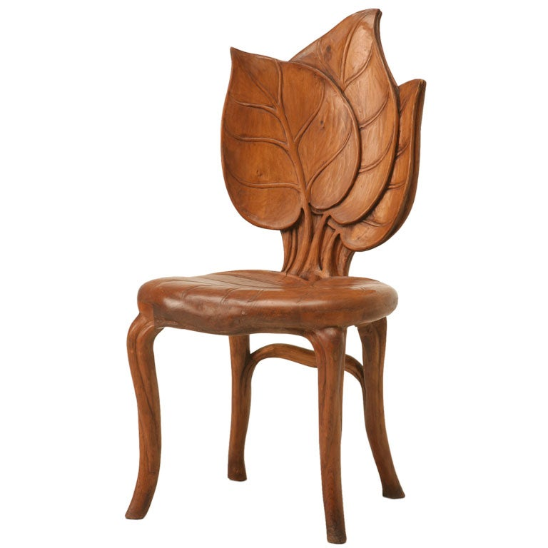 French art nouveau sculptural leaf chair at for Unusual chairs