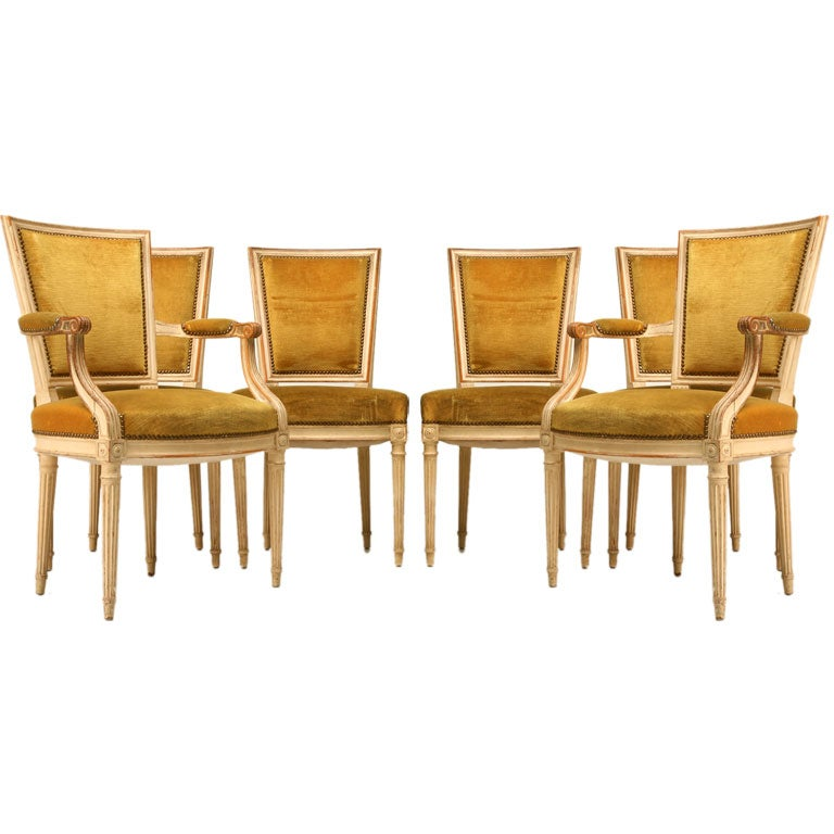 c1920 Set of 6 French Louis XVI Style Dining Chairs at  : jr7556 from www.1stdibs.com size 768 x 768 jpeg 56kB