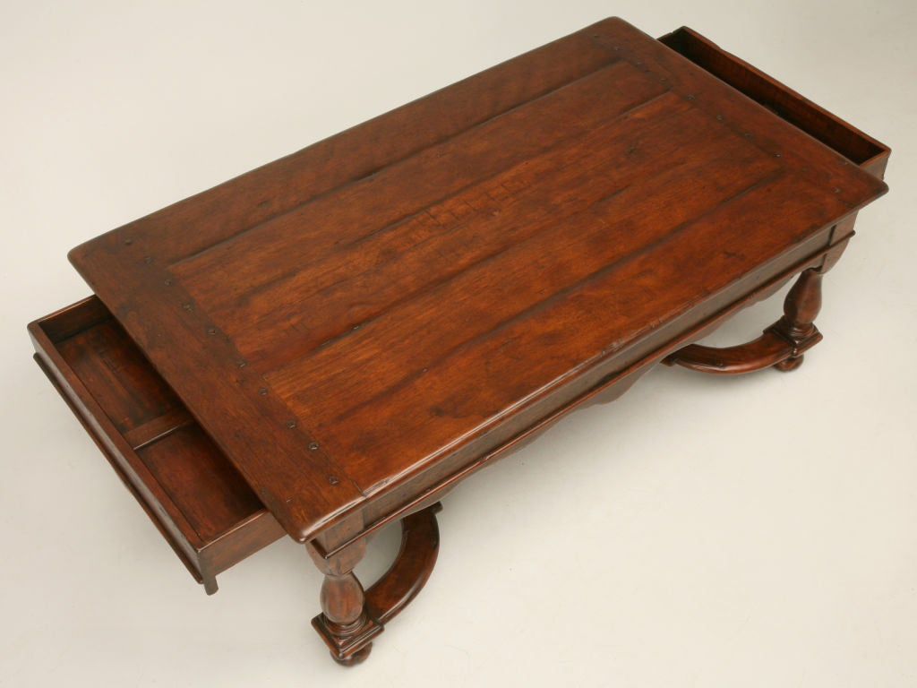 Reclaimed wood coffee table w drawers at stdibs