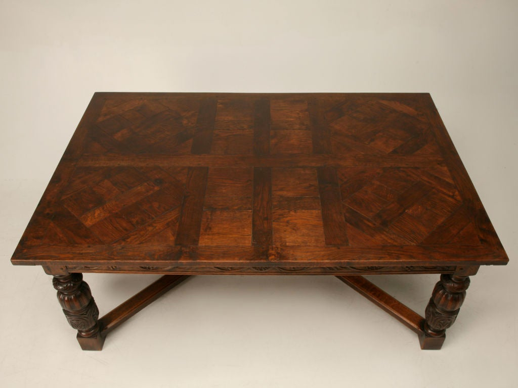 Spanish oak dining table w a unique top at 1stdibs for Unusual oak dining tables