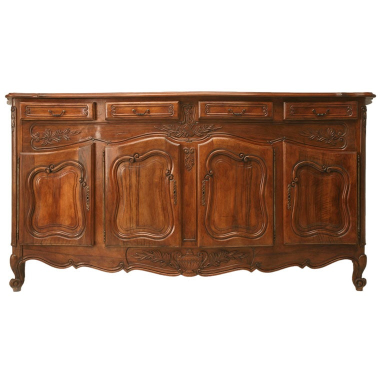 C 1930 French Louis Xv Walnut Bowfront Buffet At 1stdibs