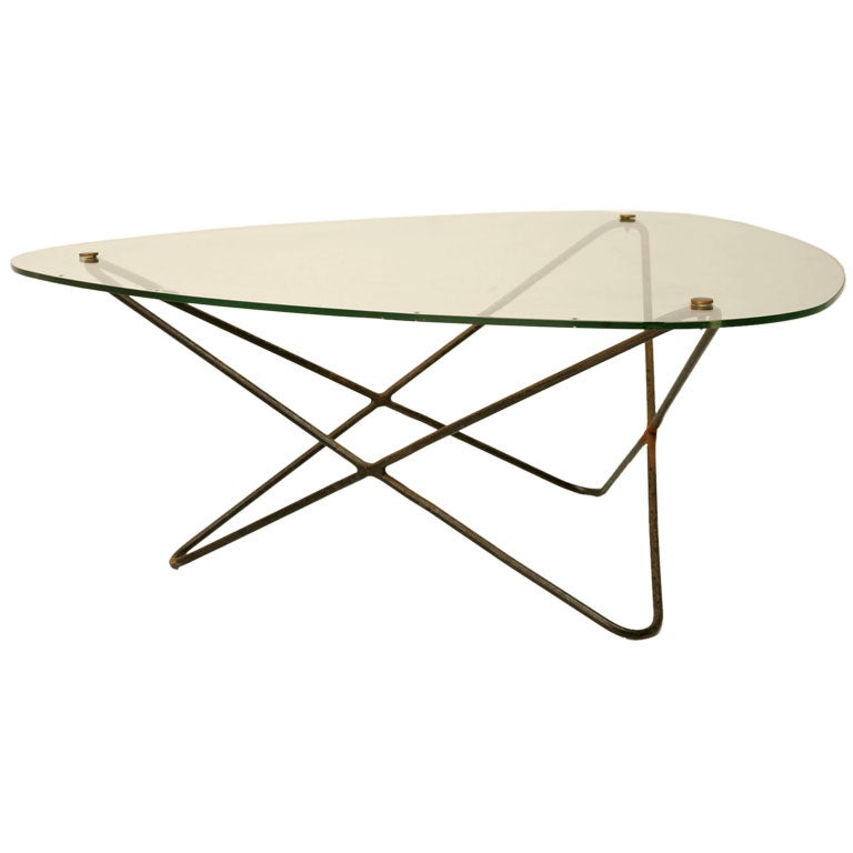 1950 39 S French Pierre Guariche Metal And Glass Atomic Coffee Table At 1stdibs