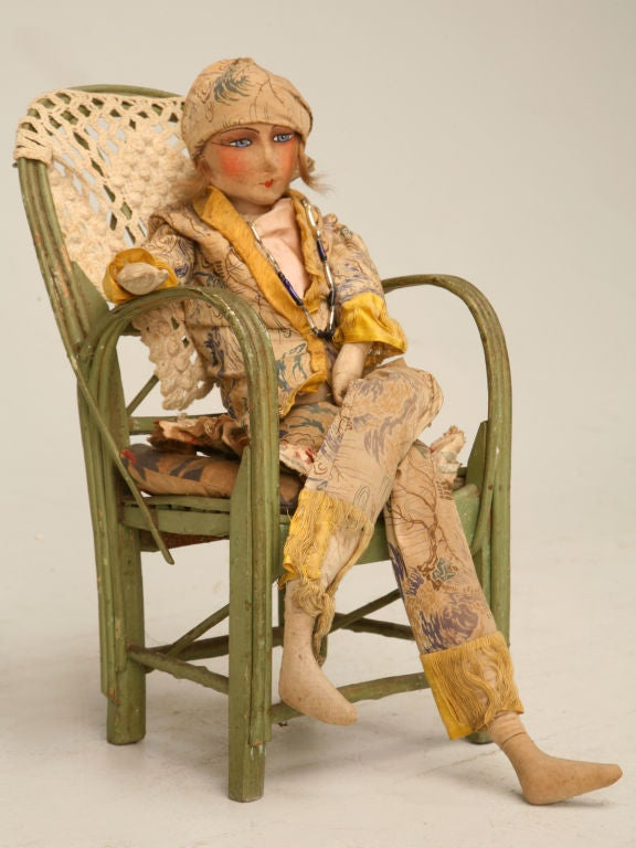 C 1920 Frech Art Deco Doll In Chair At 1stdibs
