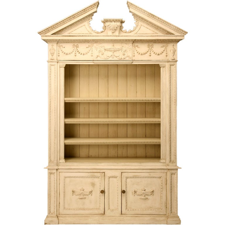 Monumental Distressed Painted Bookcase At 1stdibs