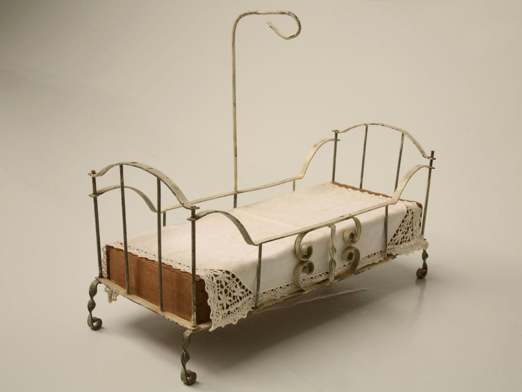 French Hand Formed Metal Doll Bed W Canopy At 1stdibs