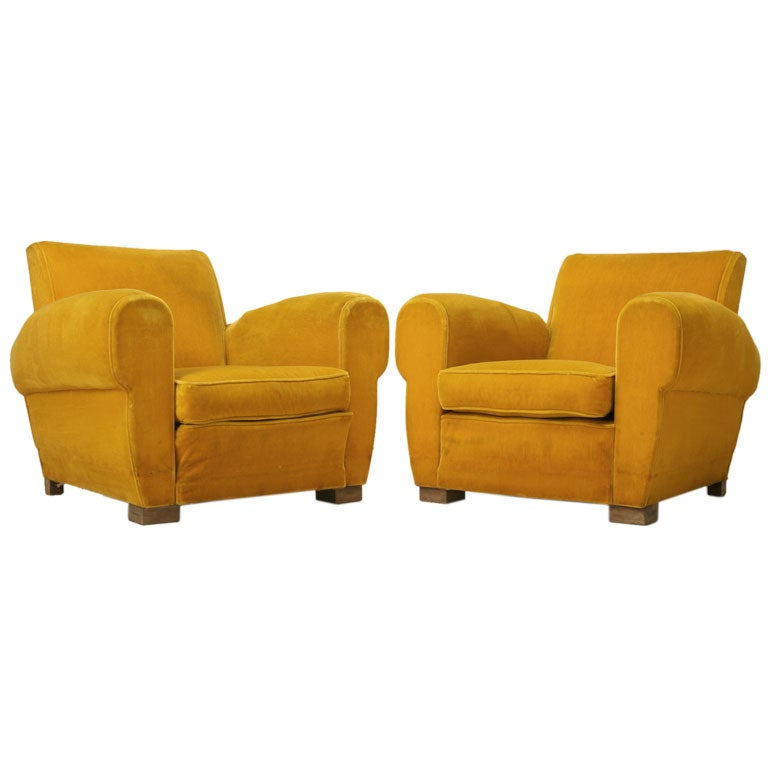 Pair of french art deco club chairs at 1stdibs for Art deco furniture chicago