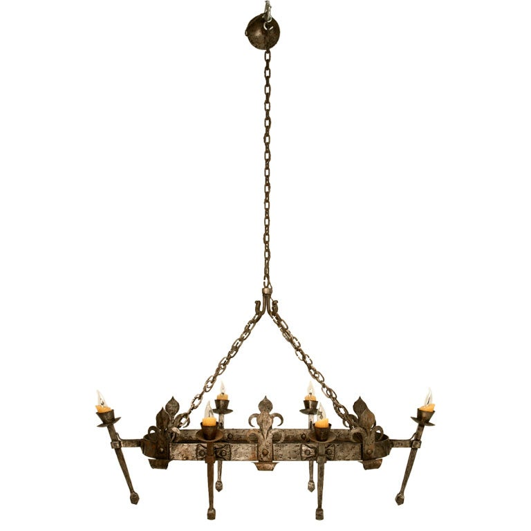 c.1920 French Hand-Forged Iron Oval Chandelier