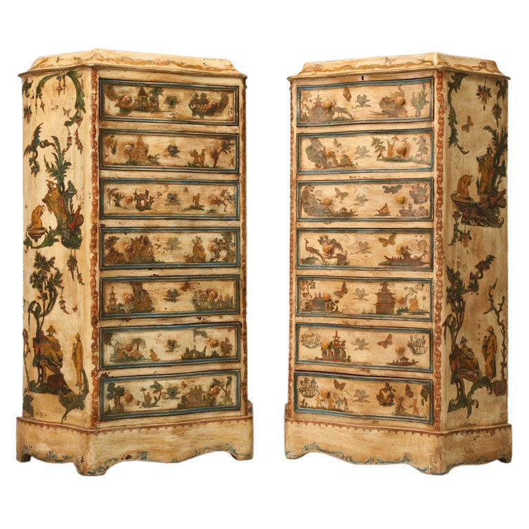 Pair of late 19th C. Antique Italian Semainiers Decorated in 20th C. Arte Povera
