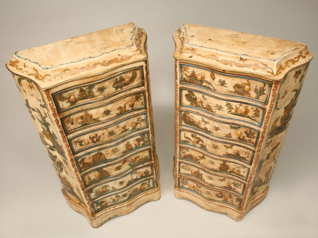 Pair of late 19th C. Antique Italian Semainiers Decorated in 20th C. Arte Povera image 2