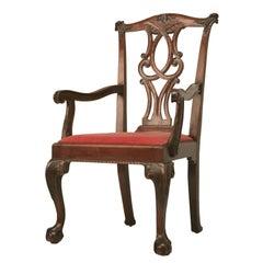 Irish Chippendale Walnut Armchair, circa 1780-1810