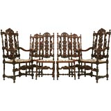 Set of 6 Original Antique French Hand-Carved Oak Dining Chairs