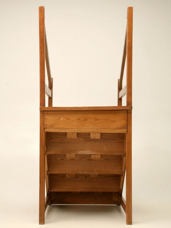 Original Antique English Pine Library Steps 10