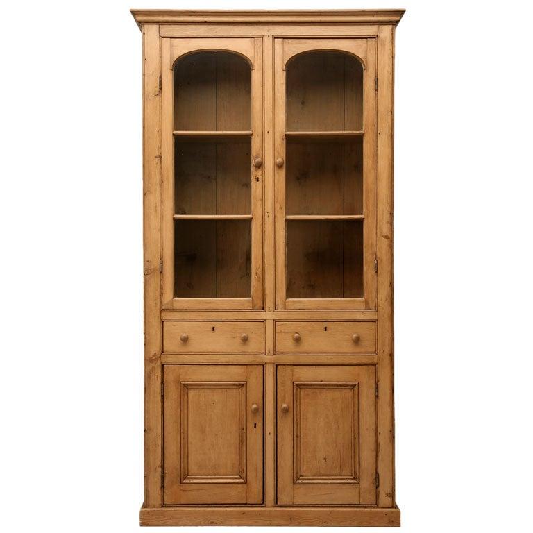 Pine China Cabinet Hutch: C.1880 Original Country English Pine Bookcase/China