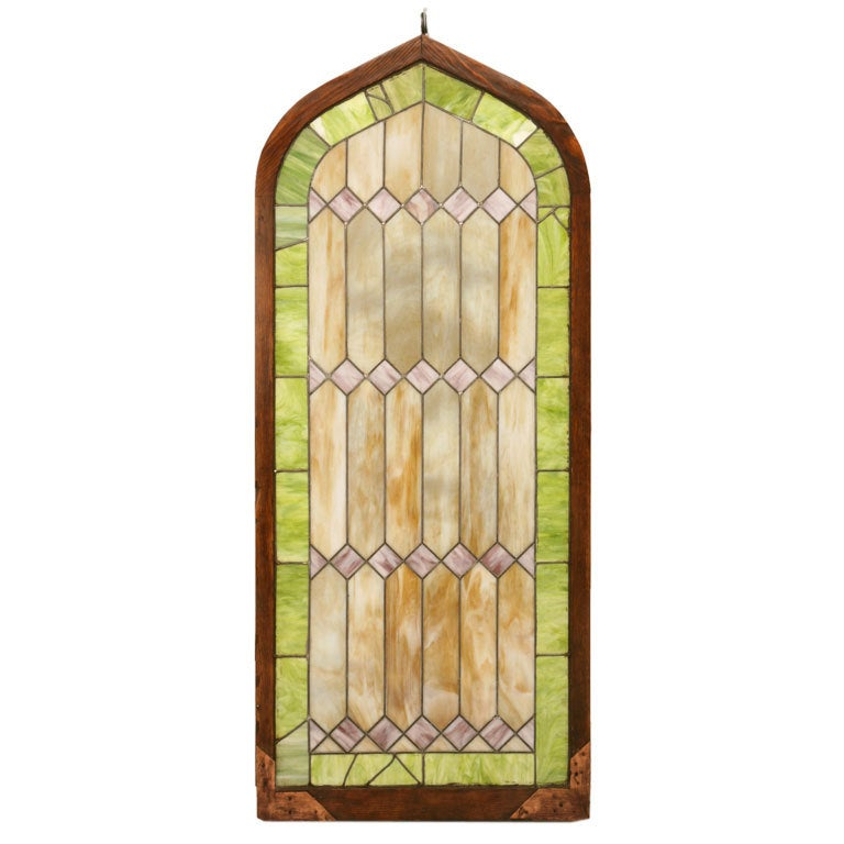 Large American Gothic Stained Glass Window At 1stdibs