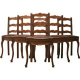 Set of 6 French Solid Oak and Leather Ladderback Dining Chairs